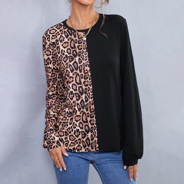 Leopard Print Round Neck Spliced T-Shirt, Multicolor