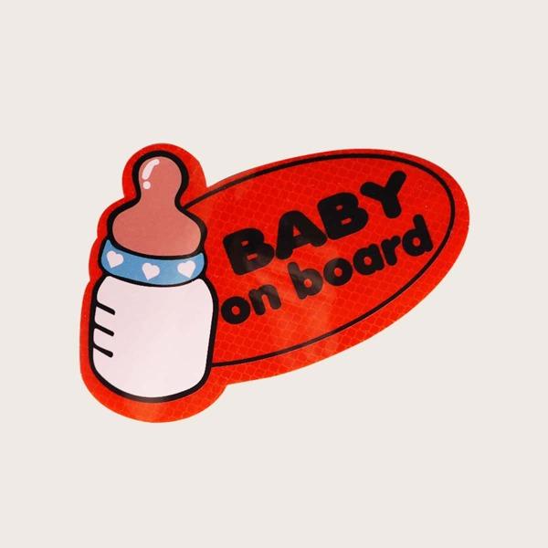 1sheet Baby Slogan Graphic Car Reflective Sticker, Red