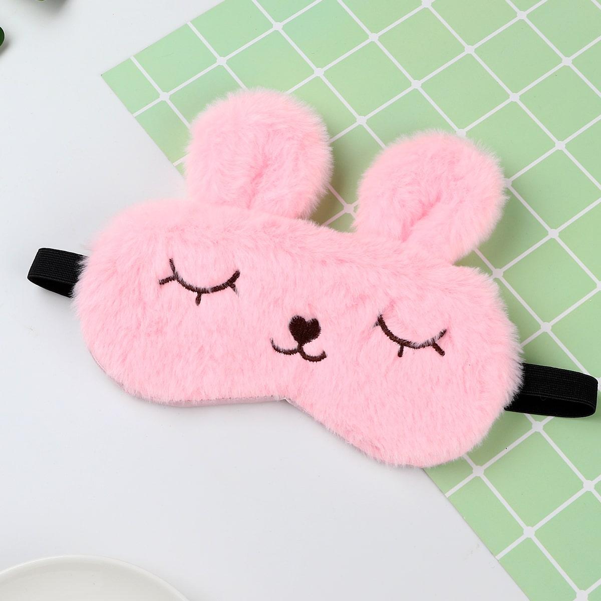 1шт Плюшевая маска для сна в форме кролика