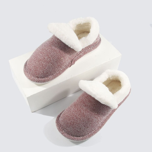 Fuzzy Striped Pattern Slippers, Red and white