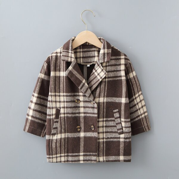 Toddler Boys Plaid Double Breasted Lapel Neck Overcoat, Multicolor