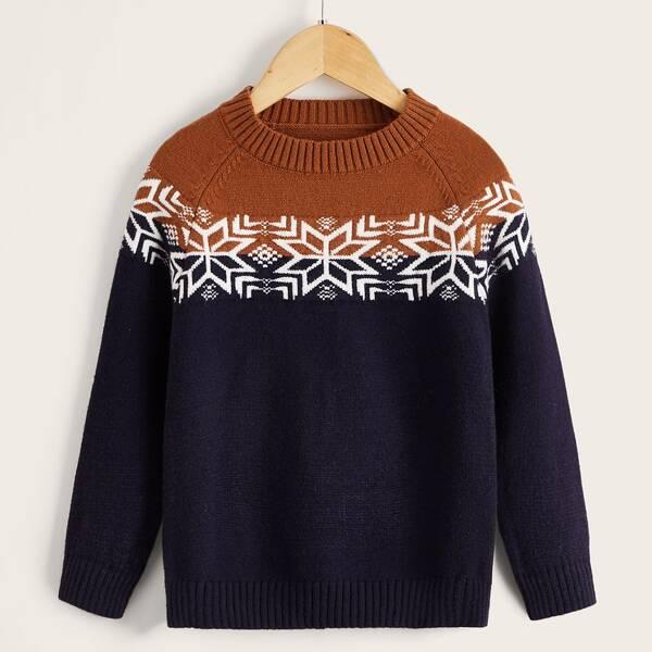 Toddler Boys Snowflake Pattern Raglan Sleeve Colorblock Sweater, Navy blue