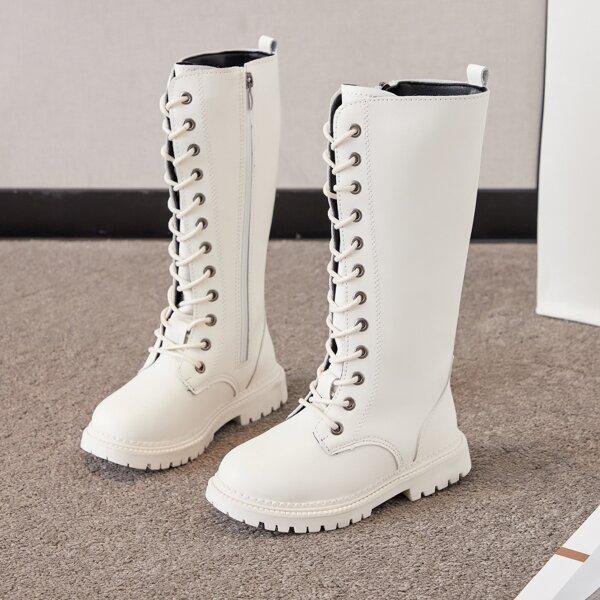 Girls Side Zip Mid Calf Combat Boots, Beige