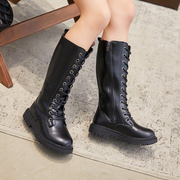 Girls Side Zip Mid Calf Combat Boots, Black