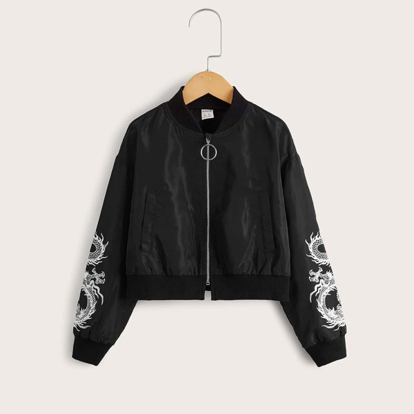 Girls Zip Up Chinese Dragon Print Drop Shoulder Bomber Jacket, Black
