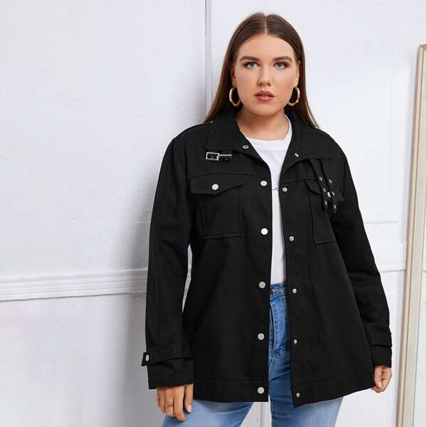 Plus Flap Pocket Buckled Detail Coat, Black