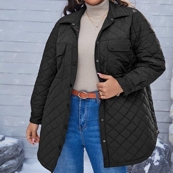 Plus Flap Detail Drop Shoulder Quilted Coat, Black