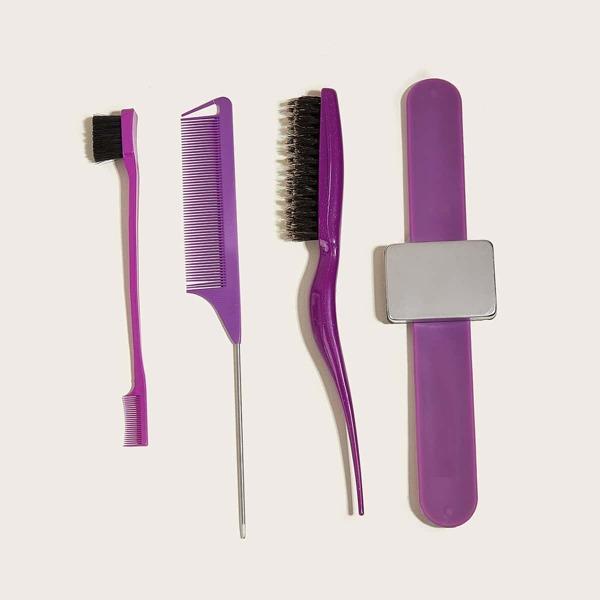 4pcs Hair Comb Set, Multicolor