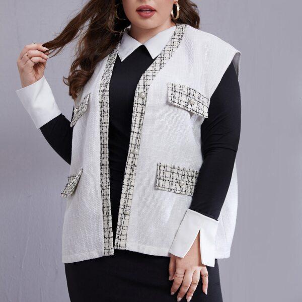 Plus Plaid Panel Flap Detail Sleeveless Overcoat, White