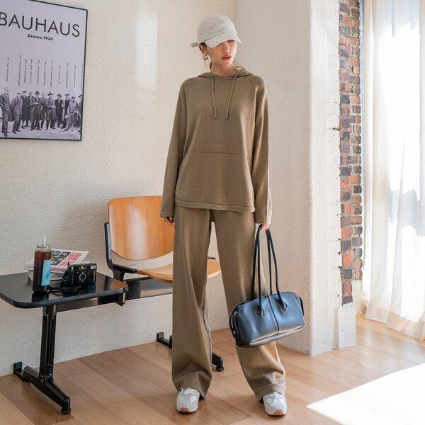 Raglan Sleeve Drawstring Hooded Sweater & Knit Wide Leg Pants, Camel