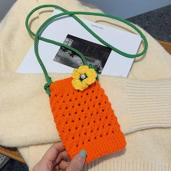 Textured Flap Shoulder Chain Bag, Orange