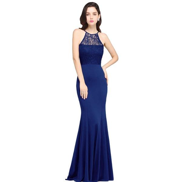Cut Out Back Contrast Lace Mermaid Hem Chiffon Bridesmaid Dress, Navy blue