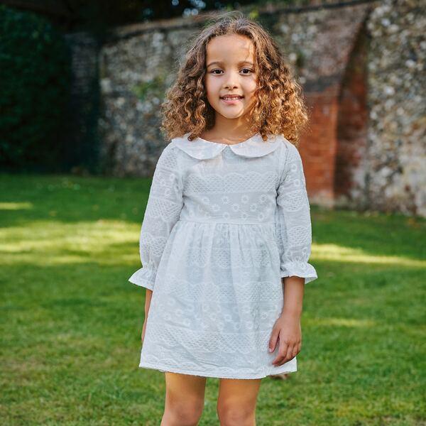 Toddler Girls Peter Pan Collar Flounce Sleeve Smock Dress, White