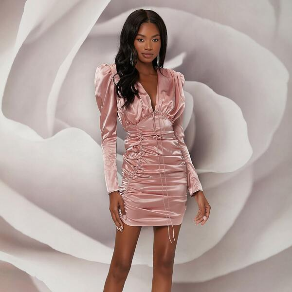 Plunging Neck Gigot Sleeve Ruched Satin Bodycon Dress, Baby pink