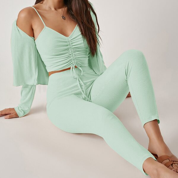 Drawstring Knot Ruched Cami Top & Leggings Set With Coat, Mint green