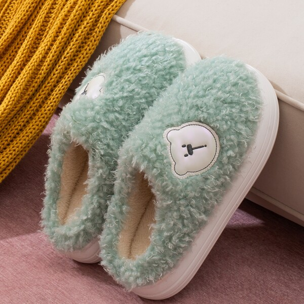 Cartoon Graphic Fuzzy Slippers, Green
