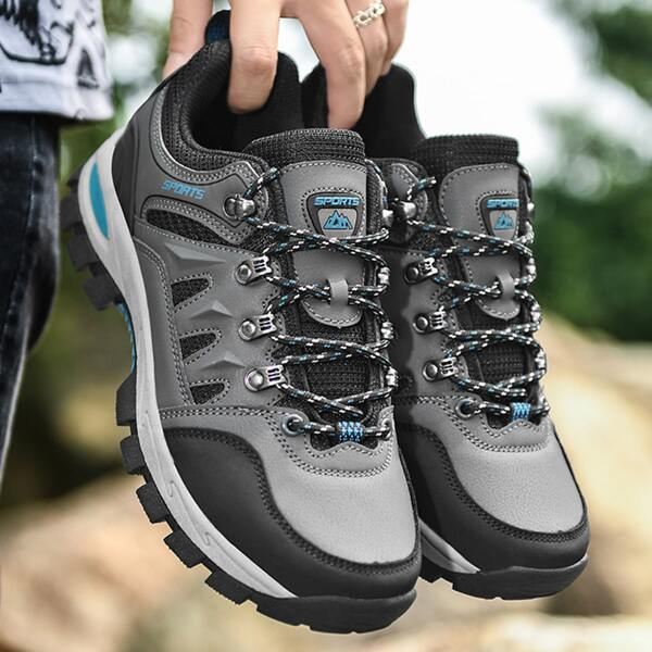 Men Letter Patch Lace Up Design Hiking Shoes, Grey