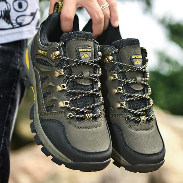Men Letter Patch Lace Up Design Hiking Shoes, Army green