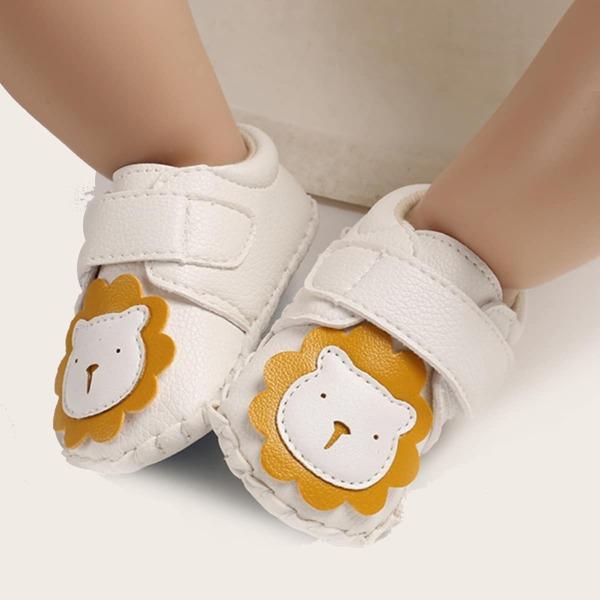 Baby Cartoon Lion Graphic Velcro Strap Flats, White