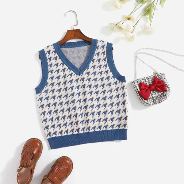 Girls Houndstooth Pattern Sweater Vest, Blue and white