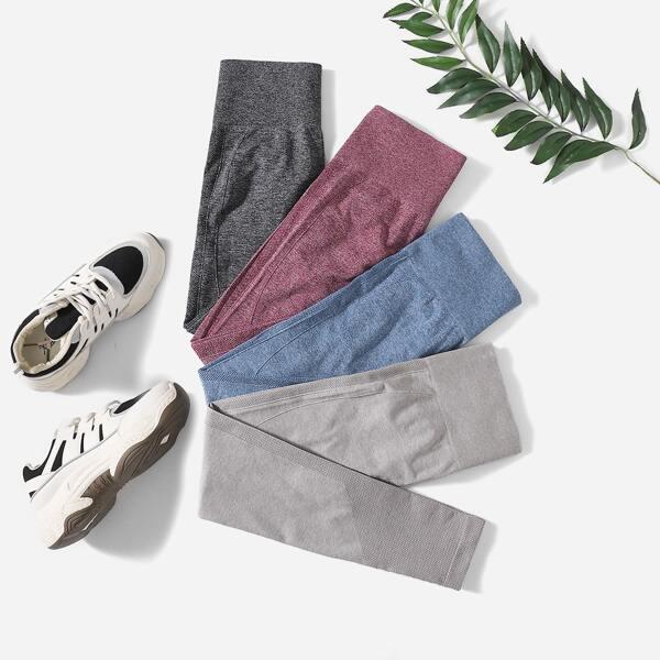 4 Pack Solid Scrunch Butt Sports Leggings, Multicolor