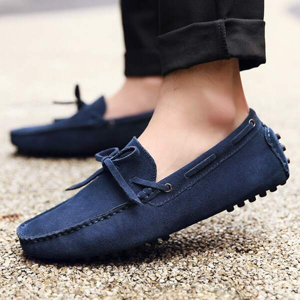 Men Bow Decor Front Loafers, Blue