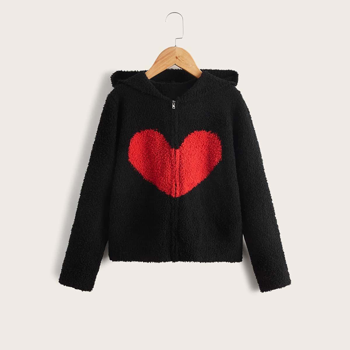 Girls Heart Pattern Hooded Cardigan