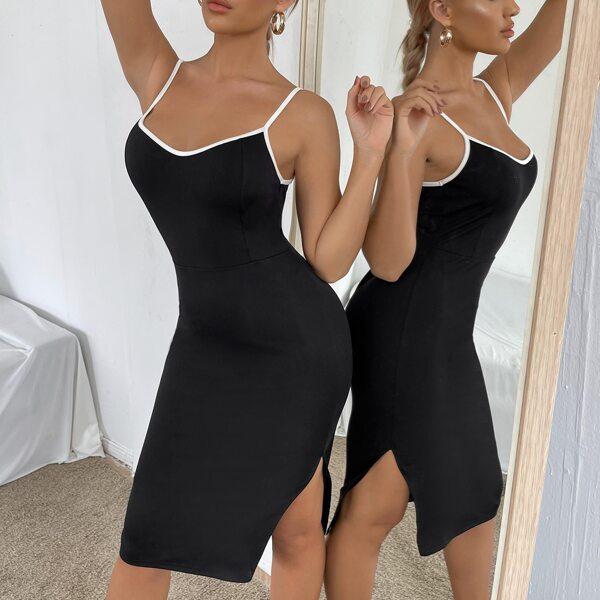 Contrast Binding Split Hem Cami Bodycon Dress, Black