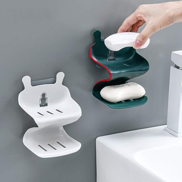 1pc Double Layer Random Color Soap Dish Holder, Multicolor