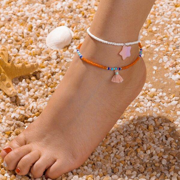 2pcs Star & Tassel Charm Beaded Anklet, Multicolor