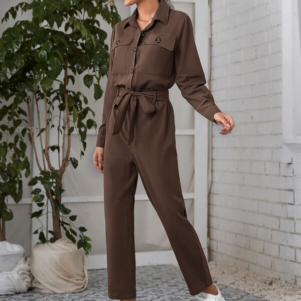Flap Pocket Belted Shirt Jumpsuit, Chocolate brown