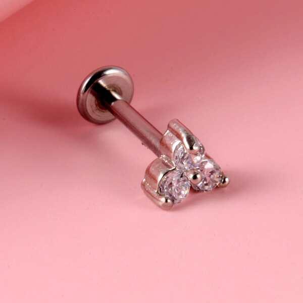 Zircon Decor Tongue Barbell Ring, Silver