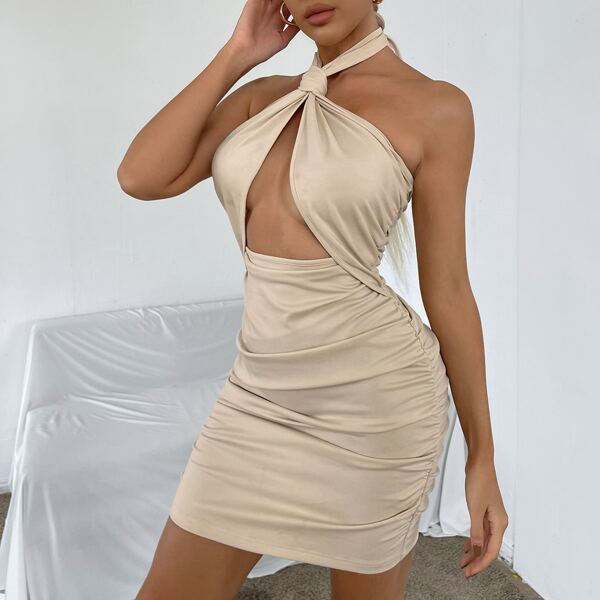Peekaboo Ruched Knot Halter Bodycon Dress, Apricot