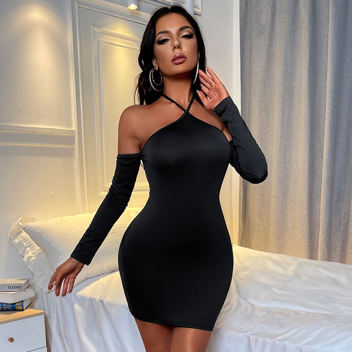 Halter Knot Backless Bodycon Dress, SHEIN  - buy with discount