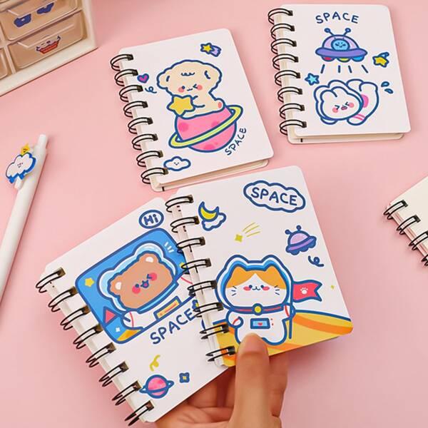 4pcs Cartoon Graphic Cover Random Spiral Notebook, Multicolor