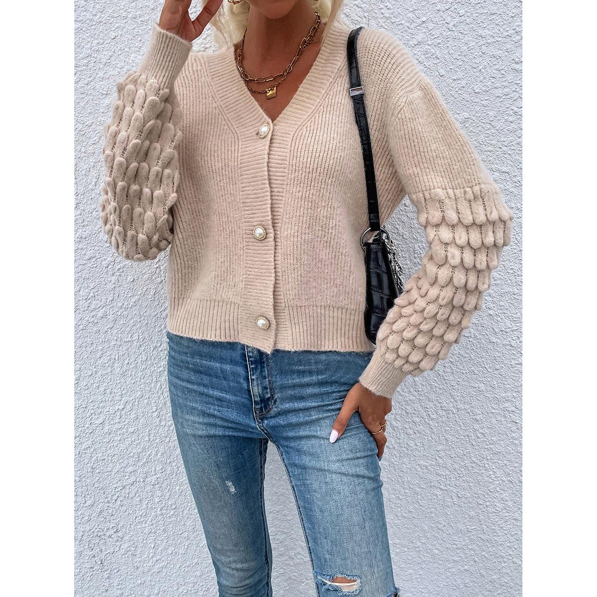 Drop Shoulder Ribbed & Popcorn Knit Cardigan