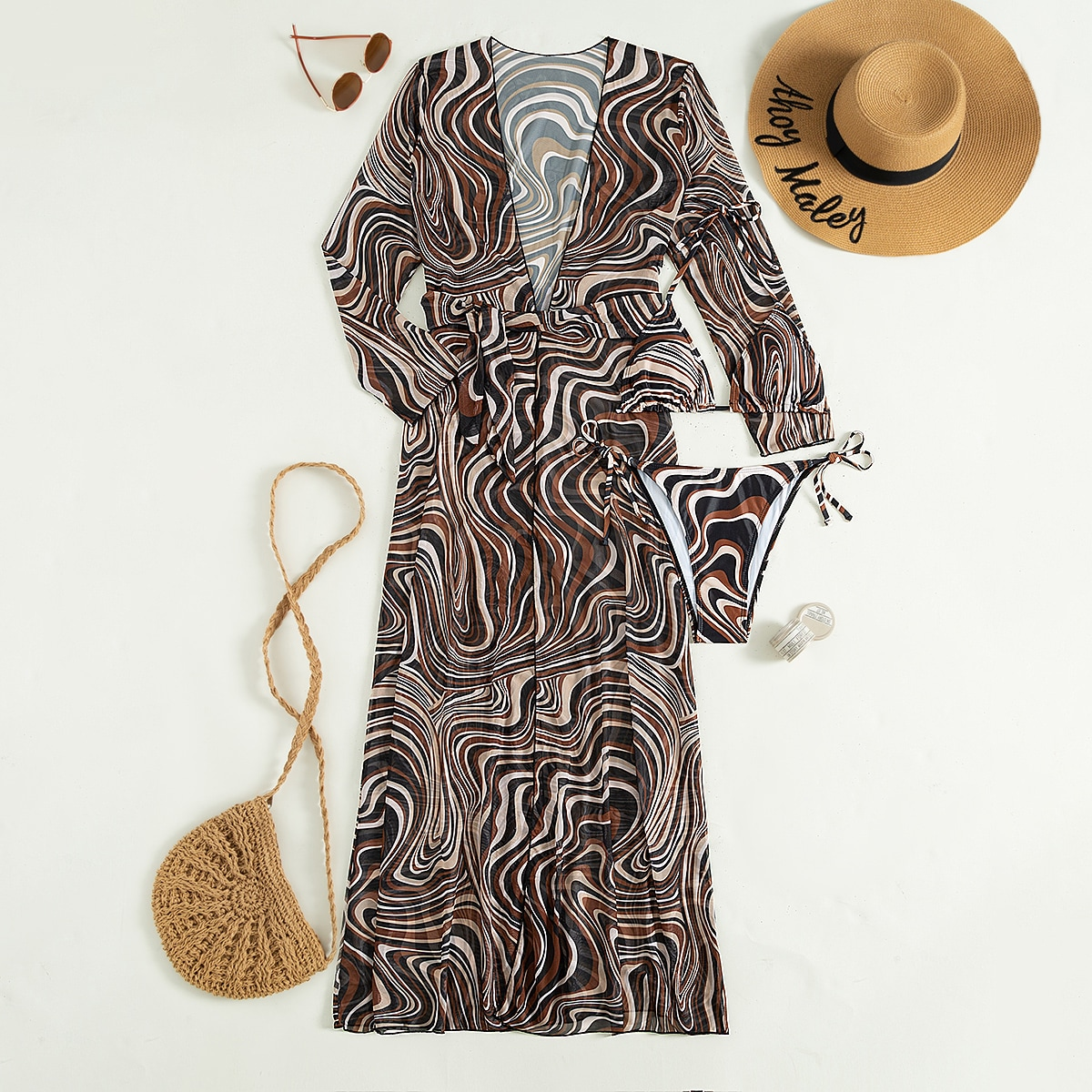 3pack Fluid Pattern Lace Up Bikini Swimsuit & Kimono