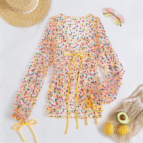 Polka Dot Print Tie Front Kimono, Multicolor