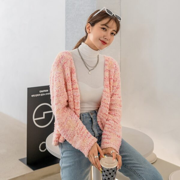 Space Dye Open Front Cardigan, Baby pink