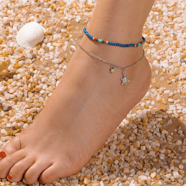 2pcs Star & Turtle Charm Beaded Anklet, Multicolor