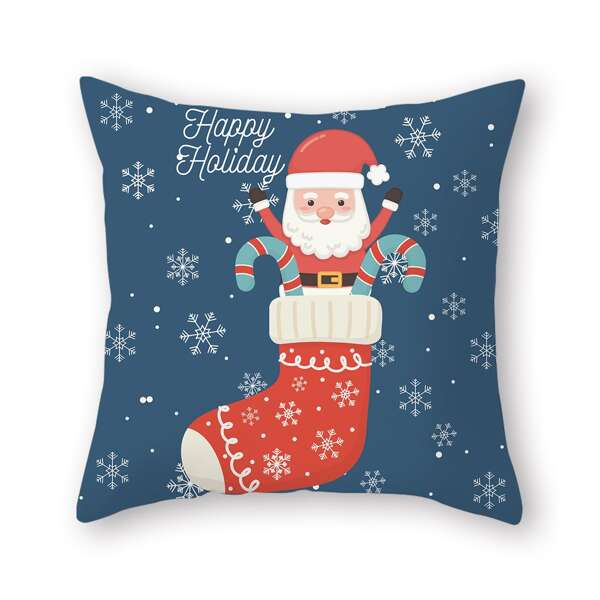 Christmas Santa Claus Print Cushion Cover Without Filler, Multicolor