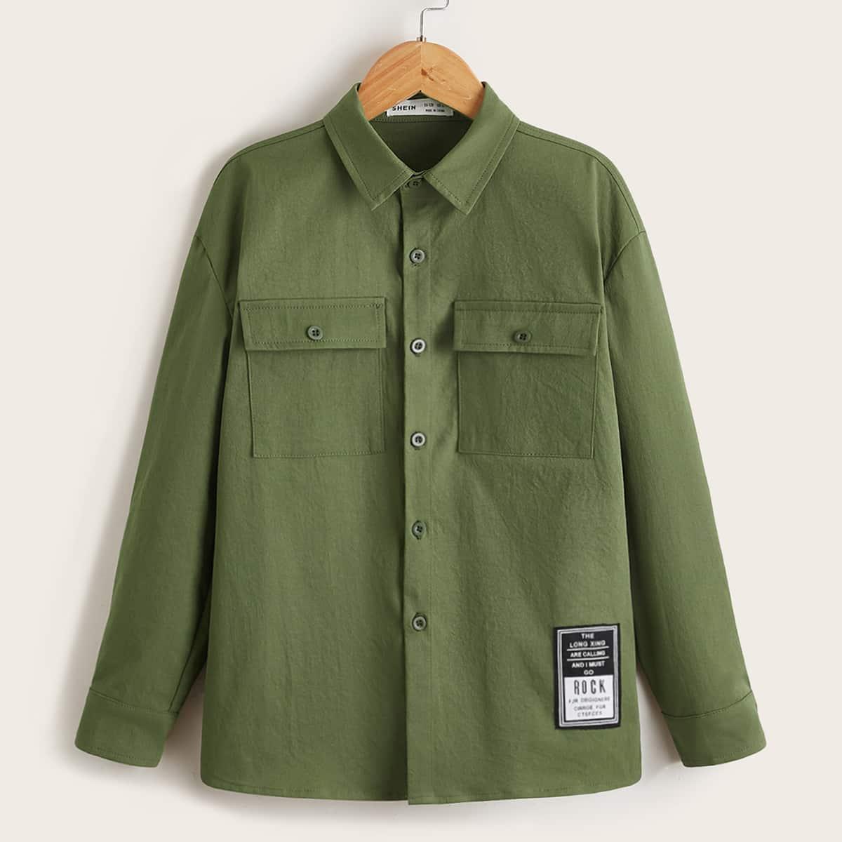для мальчиков Рубашка с заплатой с карманом
