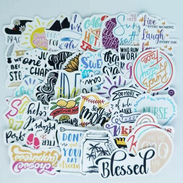 50pcs Slogan Graphic Sticker, Multicolor