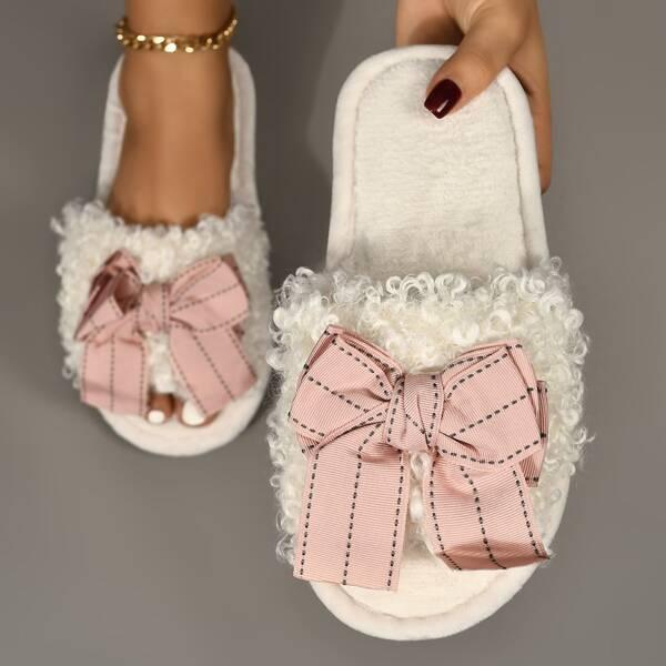 Bow Decor Fuzzy Slippers, White