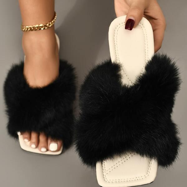 Fuzzy Crossover Strap Slide Sandals, Black