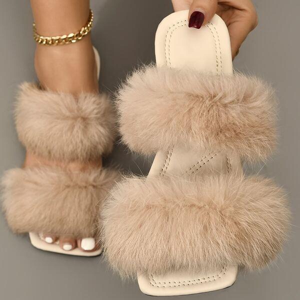 Fuzzy Double Strap Slide Sandals, Beige