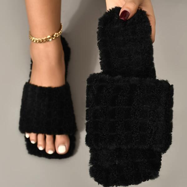 Minimalist Fuzzy Slide Sandals, Black