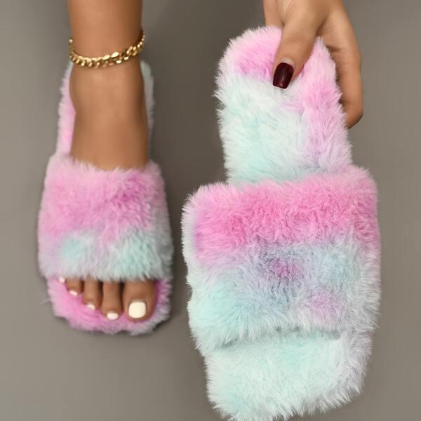 Colorblock Fuzzy Slide Sandals, Multicolor