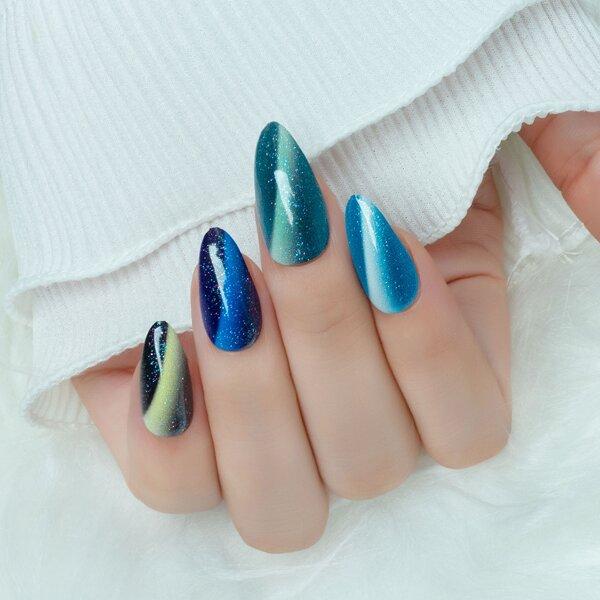 24pcs Glitter Fake Nail & 1sheet Tape & 1pc Nail File, Multicolor