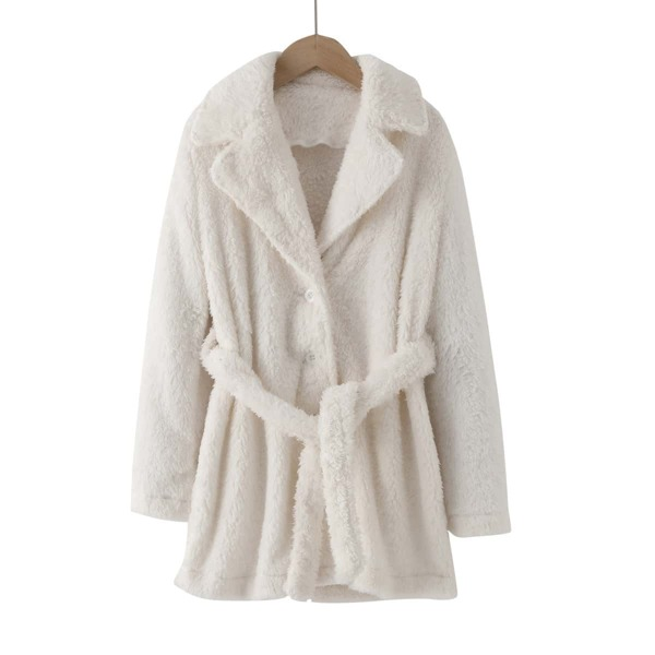 Girls Solid Lapel Neck Belted Teddy Coat, White